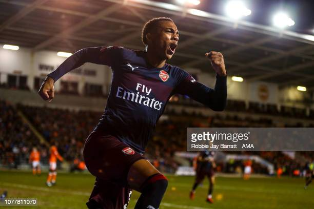 Joe Willock of Arsenal celebrates after scoring a goal to make it 0-2 during the FA Cup Third Round match between Blackpool and Arsenal at Bloomfield...