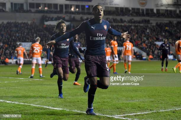 Joe Willock of Arsenal celebrates after scoring his team's first goal during the FA Cup Third Round match between Blackpool and Arsenal at Bloomfield...