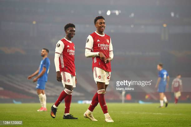 Joe Willock of Arsenal celebrates after scoring his team's fourth goal during the UEFA Europa League Group B stage match between Arsenal FC and Molde...
