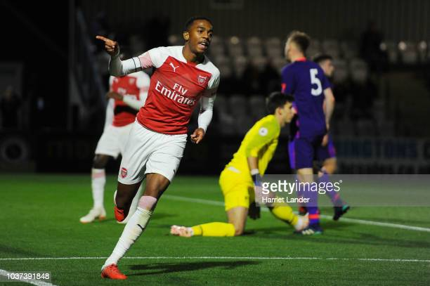 Joe Willock of Arsenal celebrates after scoring his team's third goal during the Premier League 2 match between Arsenal and Liverpool at Meadow Park...