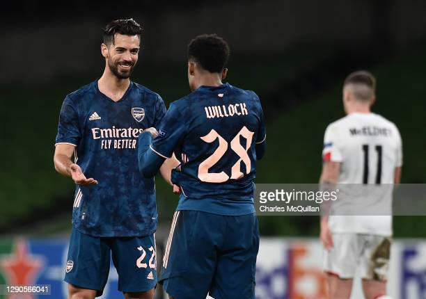 Joe Willock of Arsenal celebrates after scoring their team's third goal Pablo Mari of Arsenal during the UEFA Europa League Group B stage match...