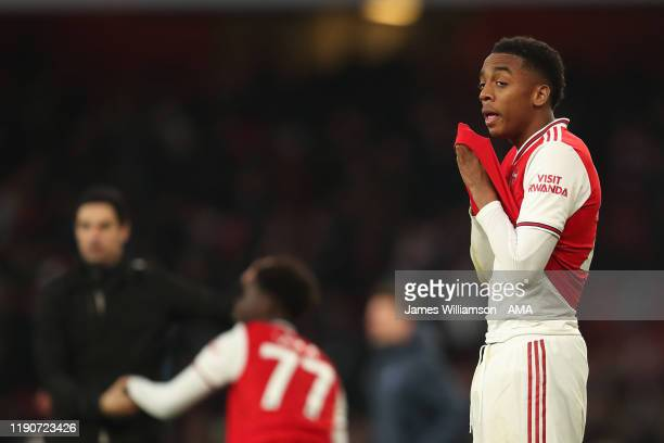 Joe Willock of Arsenal dejected at full time of the Premier League match between Arsenal FC and Chelsea FC at Emirates Stadium on December 29, 2019...