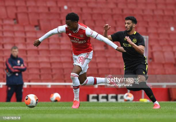 Joe Willock of Arsenal during a friendly match between Arsenal and Brentford at Emirates Stadium on June 10 2020 in London England