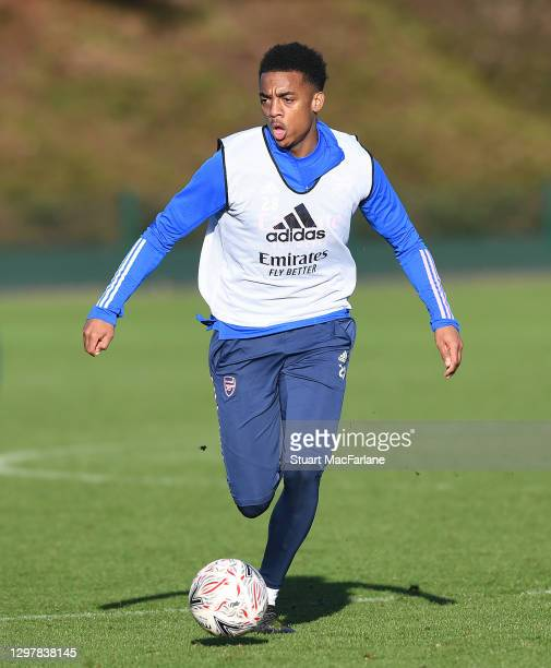 Joe Willock of Arsenal during a training session at London Colney on January 22, 2021 in St Albans, England.