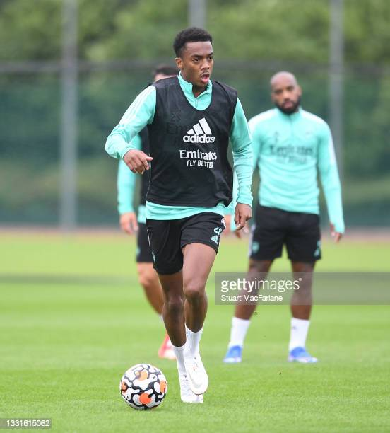 Joe Willock of Arsenal during a training session at London Colney on July 30, 2021 in St Albans, England.