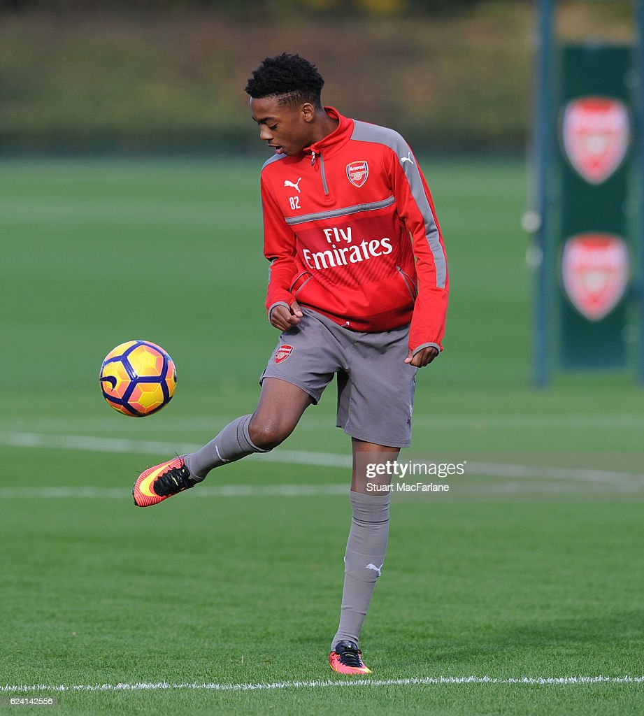 Joe Willock of Arsenal during a training session at London Colney on November 18, 2016 in St Albans, England.