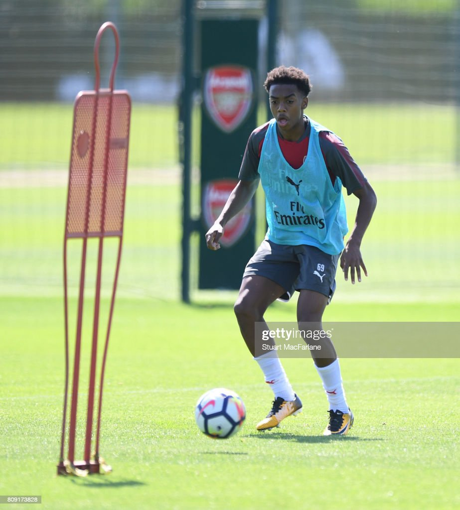 Joe Willock of Arsenal during a training session at London Colney on July 5, 2017 in St Albans, England.