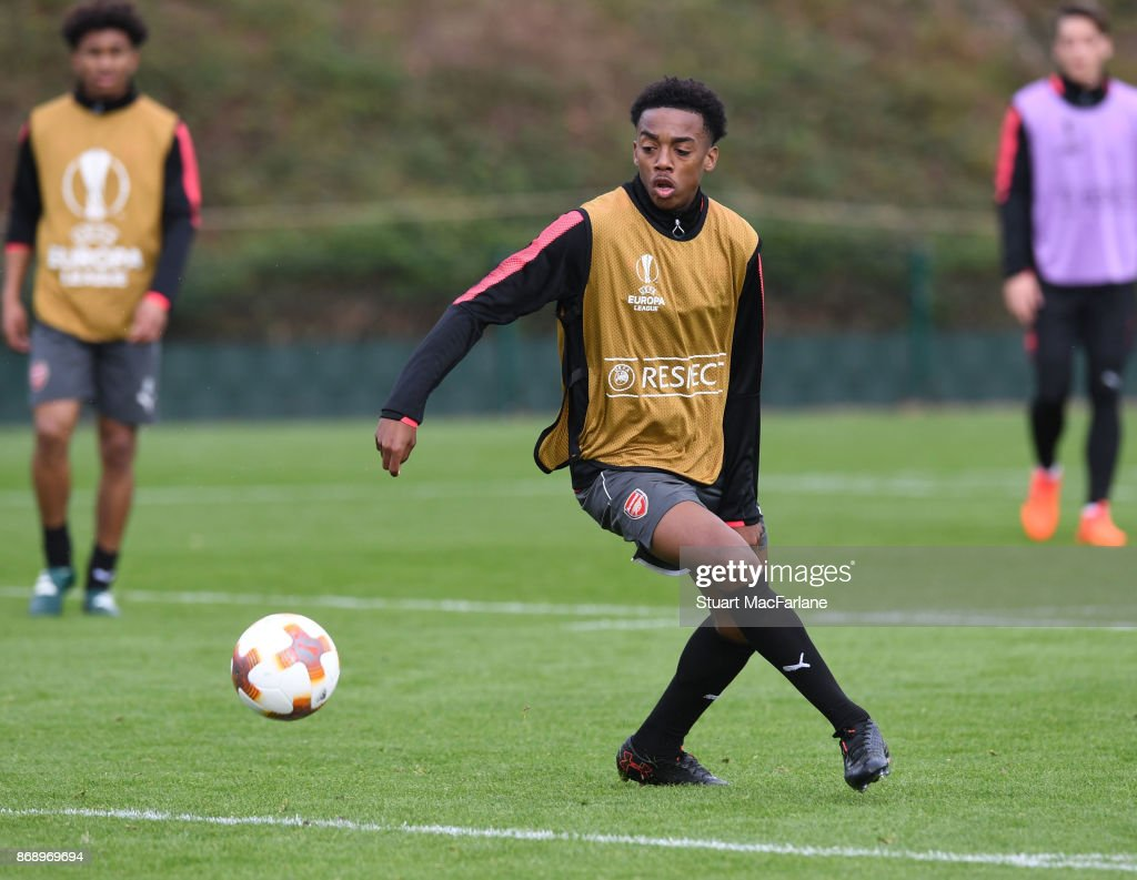 Joe Willock of Arsenal during a training session at London Colney on November 1, 2017 in St Albans, England.