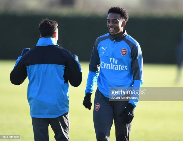 Joe Willock of Arsenal during a training session at London Colney on December 18 2017 in St Albans England