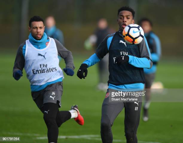 Joe Willock of Arsenal during a training session at London Colney on January 6 2018 in St Albans England