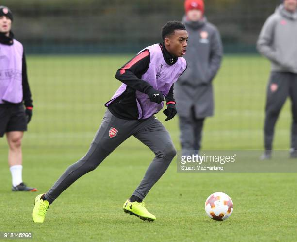 Joe Willock of Arsenal during a training session at London Colney on February 14 2018 in St Albans United Kingdom