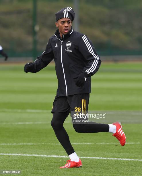 Joe Willock of Arsenal during the Arsenal 1st Team Training Session at London Colney on February 26 2020 in St Albans England