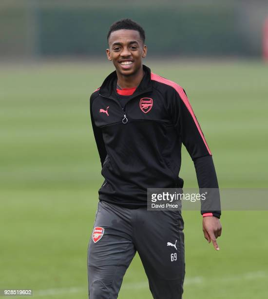 Joe Willock of Arsenal during the Arsenal Training Session at London Colney on March 7 2018 in St Albans England