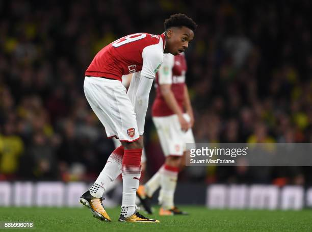Joe Willock of Arsenal during the Carabao Cup Fourth Round match between Arsenal and Norwich City at Emirates Stadium on October 24 2017 in London...