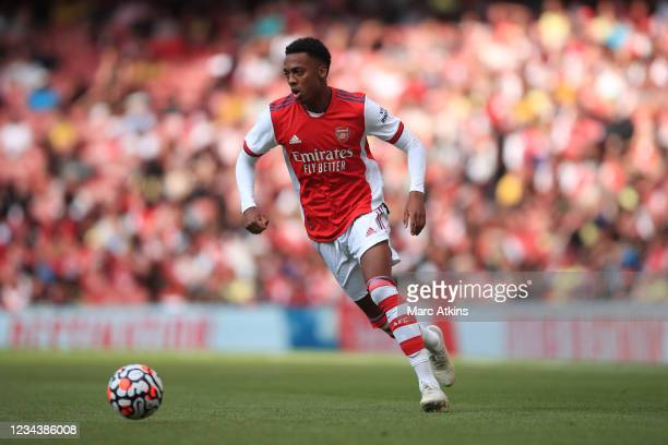 Joe Willock of Arsenal during the Pre Season Friendly between Arsenal and Chelsea at Emirates Stadium on August 1, 2021 in London, England.