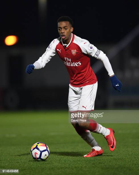 Joe Willock of Arsenal during the Premier League 2 match between Arsenal and Everton at Meadow Park on February 5 2018 in Borehamwood England