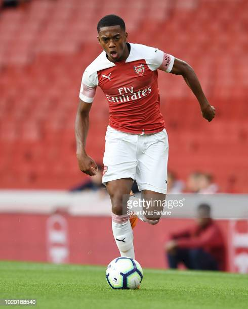 Joe Willock of Arsenal during the Premier League 2 match between Arsenal U23 and Brighton Hove Albion U23 at Emirates Stadium on August 20 2018 in...