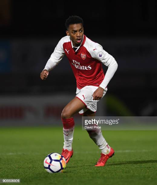 Joe Willock of Arsenal during the Premier League 22 match between Arsenal and Manchester United at Meadow Park on January 15 2018 in Borehamwood...