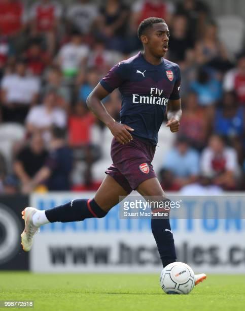 Joe Willock of Arsenal during the preseason friendly between Boreham Wood and Arsenal at Meadow Park on July 14 2018 in Borehamwood England