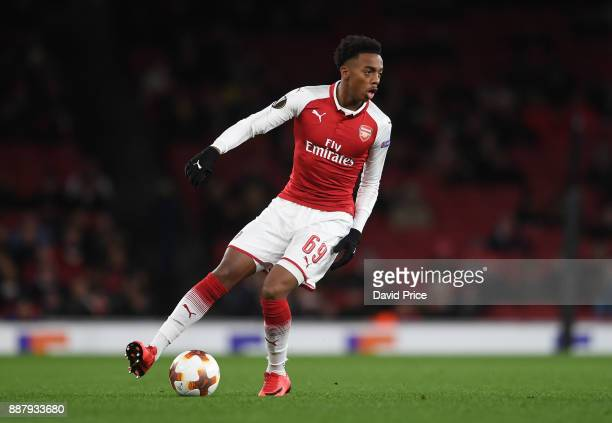 Joe Willock of Arsenal during the UEFA Europa League group H match between Arsenal FC and BATE Borisov at Emirates Stadium on December 7 2017 in...