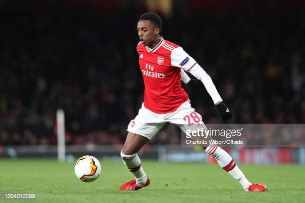 Joe Willock of Arsenal during the UEFA Europa League round of 32 second leg match between Arsenal FC and Olympiacos FC at Emirates Stadium on...