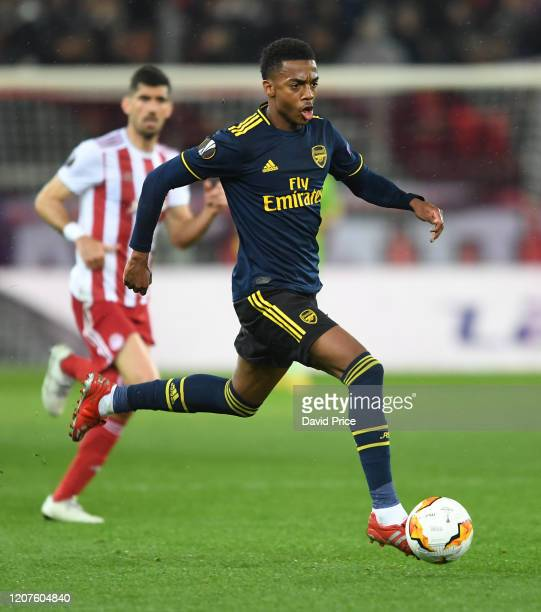Joe Willock of Arsenal during the UEFA Europa League round of 32 first leg match between Olympiacos FC and Arsenal FC at Karaiskakis Stadium on...