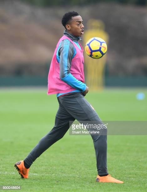 Joe Willock of Arsenal during training at London Colney on March 10 2018 in St Albans England