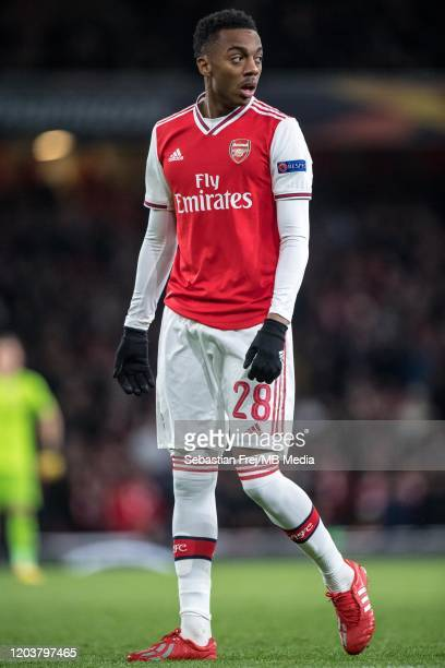 Joe Willock of Arsenal FC looks on during the UEFA Europa League round of 32 second leg match between Arsenal FC and Olympiacos FC at Emirates...