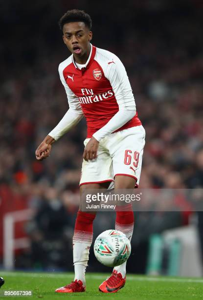 Joe Willock of Arsenal in action during the Carabao Cup Quarter Finals match between Arsenal and West Ham United at Emirates Stadium on December 19...