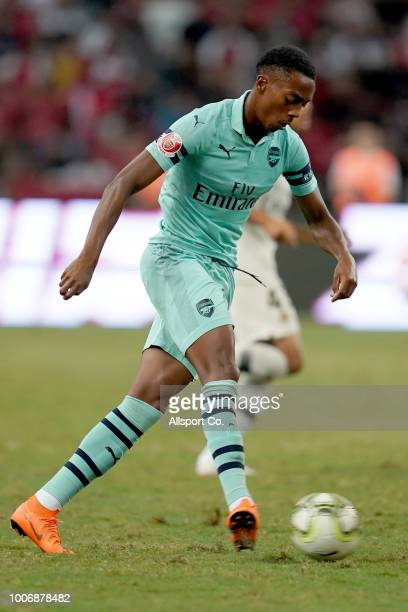 Joe Willock of Arsenal in action during the International Champions Cup match between Arsenal and Paris Saint Germain at the National Stadium on July...