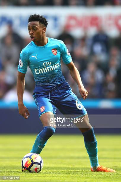 Joe Willock of Arsenal in action during the Premier League match between Newcastle United and Arsenal at St James Park on April 15 2018 in Newcastle...