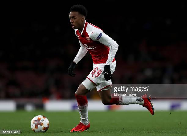 Joe Willock of Arsenal in action during the UEFA Europa League group H match between Arsenal FC and BATE Borisov at Emirates Stadium on December 7...