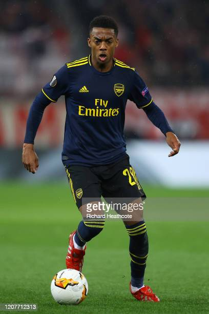 Joe Willock of Arsenal in action during the UEFA Europa League round of 16 first leg match between Olympiacos FC and Arsenal FC at Karaiskakis...