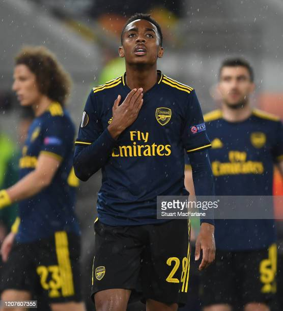Joe Willock of Arsenal reacts during the UEFA Europa League round of 32 first leg match between Olympiacos FC and Arsenal FC at Karaiskakis Stadium...