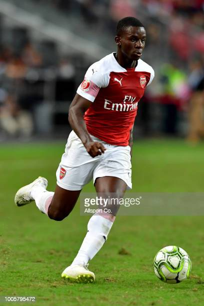 Joe Willock of Arsenal shoots during the International Champions Cup 2018 match between Club Atletico de Madrid and Arsenal at the National Stadium...