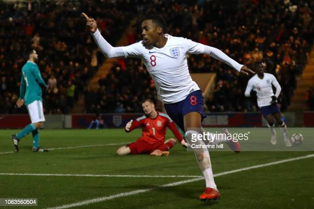 Joe Willock of England celebrates after scoring his team's first goal during the international friendly match between England U20 and Germany U20 at...
