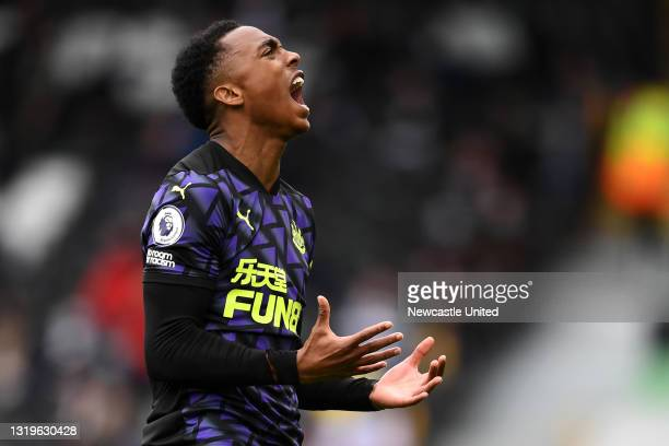 Joe Willock of Newcastle United celebrates after scoring the opening goal during the Premier League match between Fulham and Newcastle United at...