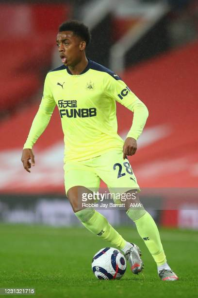 Joe Willock of Newcastle United during the Premier League match between Manchester United and Newcastle United at Old Trafford on February 21, 2021...