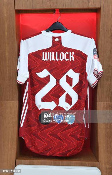 Joe Willock shirt in the Arsenal changing room before the FA Cup Final match between Arsenal and Chelsea at Wembley Stadium on August 01 2020 in...