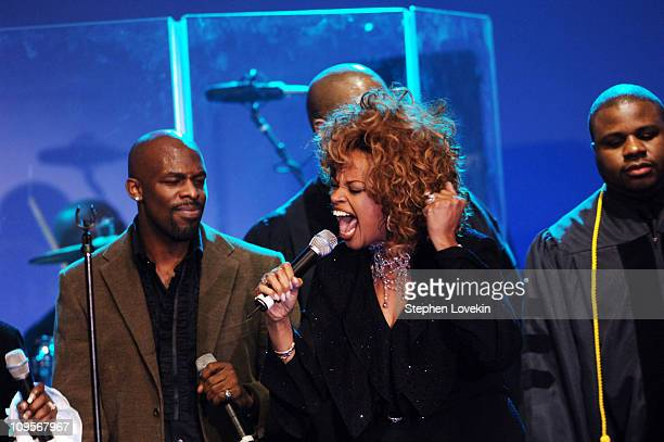 Joe with Karen ClarkSheard during The New York Chapter of the Recording Academy Presents the Recording Academy Honors 2005 Show at Gotham Hall in New...