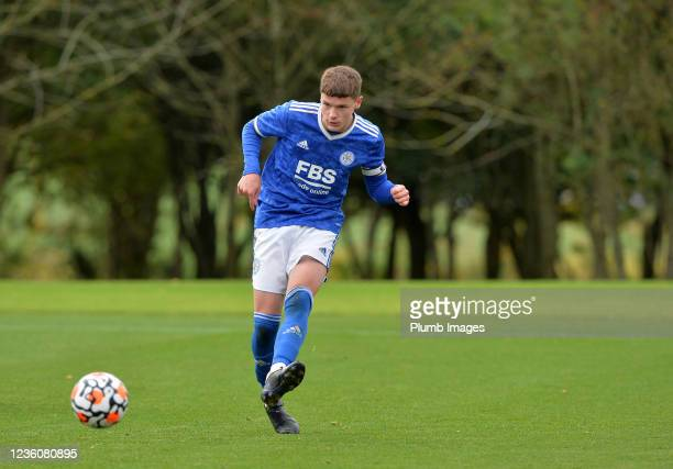 Joe Wormleighton of Leicester City during the Leicester City v Arsenal: U18 Premier League match at Seagrave on October 23, 2021 in Seagrave, United...
