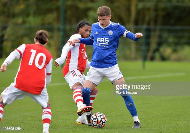 Joe Wormleighton of Leicester City with Tino Quamina of Arsenal during the Leicester City v Arsenal: U18 Premier League match at Seagrave on October...