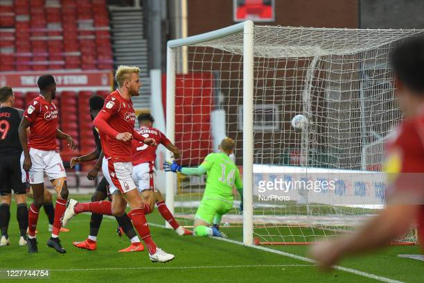 Joe Worrall of Nottingham Forest celebrates after Tobias Figueiredo of Nottingham Forest scores a goal to make it 11 during the Sky Bet Championship...