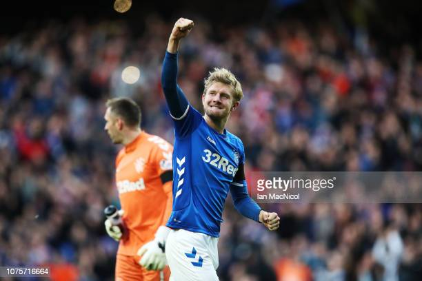Joe Worrall of Rangers celebrates at full time during the Ladbrookes Scottish Premiership match between Rangers and Celtic at Ibrox Stadium on...