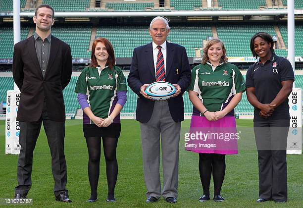 Joe Worsley Lucy Fleming RFU President Willie Wildash Heather Anning and Maggie Alphonsi pose during a photocall to launch the QBE Presidents XV...