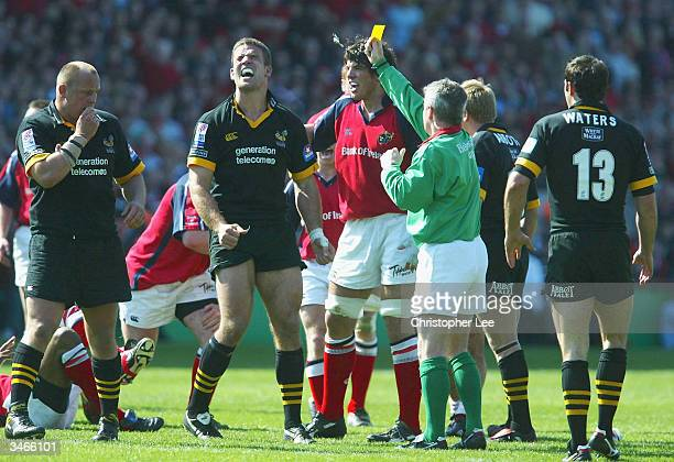 Joe Worsley of London Wasps is sent to the sin bin for ten minutes during the Heineken Cup semi-final match between Munster and London Wasps at...
