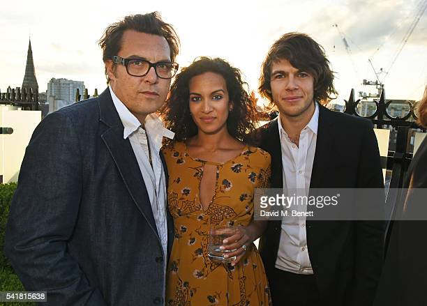 Joe Wright Anoushka Shankar and James Righton attend The London EDITION's Summer Solstice Dinner hosted by Leith Clark Violet Book on June 20 2016 in...