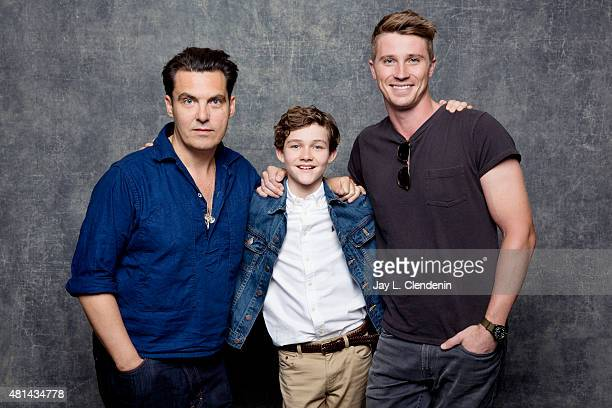 Joe Wright Levi Miller and Garrett Hedlund of 'Pan' pose for a portrait at ComicCon International 2015 for Los Angeles Times on July 9 2015 in San...
