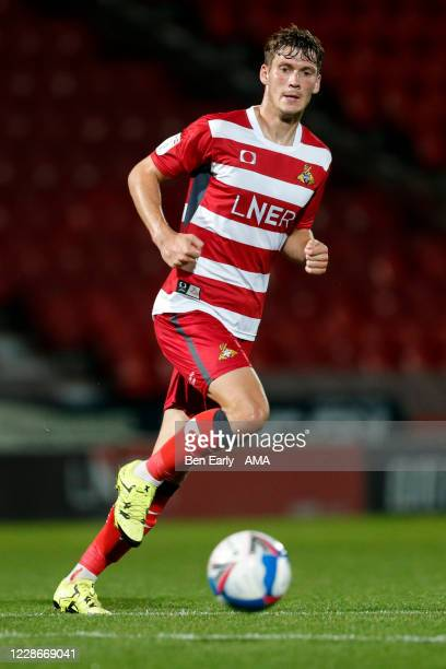 Joe Wright of Doncaster Rovers during the EFL Trophy match between Doncaster Rovers v Bradford City at Keepmoat Stadium on September 8 2020 in...