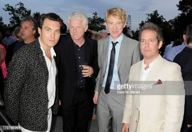 Joe Wright Richard Curtis Domnhall Gleeson and Tom Hollander attend the World Premiere of 'About Time' at Somerset House on August 8 2013 in London...